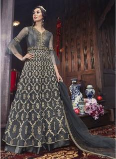 Dark Gray Net Ankle-Length Salwar Suit