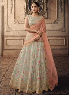 Slate Gray Tissue Net Lehenga Choli