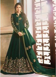 Dark Green Georgette Swarovski Ankle-Length Salwar Suit