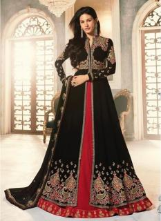 Black Georgette Ankle-Length Salwar Suit (With Red Color Georgette Lehenga)