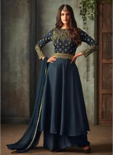 Dark Navy Blue Silk Ankle-Length Salwar Suit
