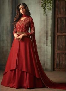 Maroon Silk Ankle-Length Salwar Suit