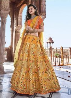 Light Orange Banarasi Silk Jacquard Lehenga Choli