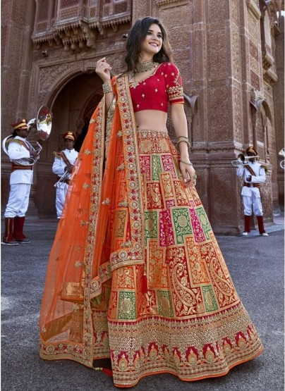 Orange Banarasi Silk Jacquard Lehenga Choli