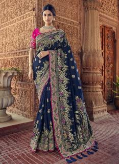 Navy Blue Pure Banarasi Silk Saree