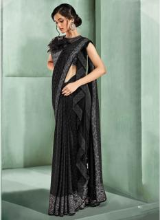 Black Chinese Lycra Ready-To-Wear Saree