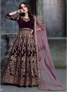 Dark Wine Pure Velvet Salwar Suit