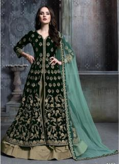 Dark Green Pure Velvet Salwar Suit