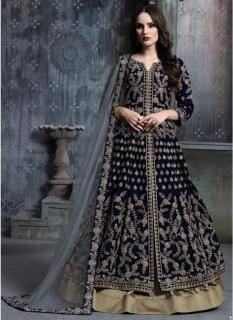 Dark Navy Blue Pure Velvet Salwar Suit