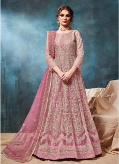Carnation Pink Net Ankle-Length Salwar Suit