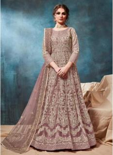 Mauve Net Ankle-Length Salwar Suit