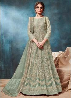 Light Olive Green Net Ankle-Length Salwar Suit