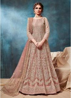Peach Net Ankle-Length Salwar Suit