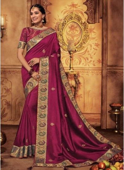 Wine Georgette Silk Embroidery Saree
