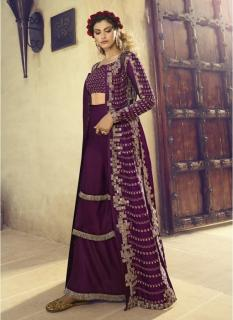 Wine Silk Net Anarkalis Salwar Suit
