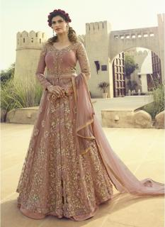 Salmon Net Anarkalis Salwar Suit