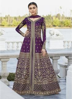 Wine Mulberry Silk Salwar Suit