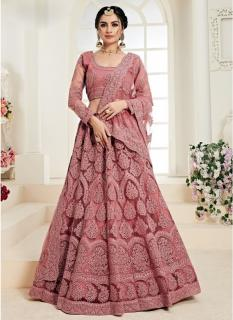 Mauve Net Silk Satin 2 Layer Inner With Can-Can Bridal Lehenga Choli