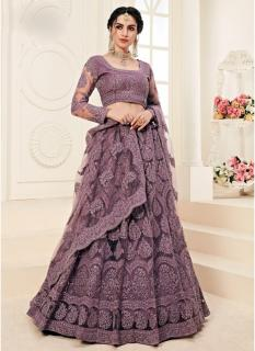 Dark Lilac Net Silk Satin 2 Layer Inner With Can-Can Bridal Lehenga Choli