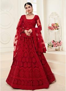 Ruby Red Net Silk Satin 2 Layer Inner With Can-Can Bridal Lehenga Choli