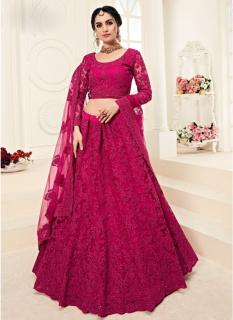 Hot Pink Net Silk Satin 2 Layer Inner With Can-Can Bridal Lehenga Choli