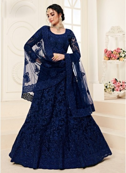 Space Blue Net Silk Satin 2 Layer Inner With Can-Can Bridal Lehenga Choli